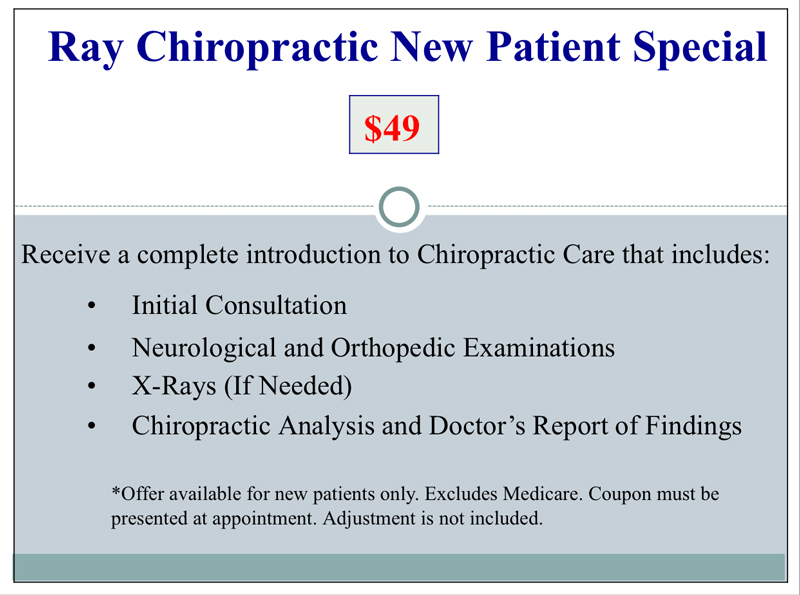 Chiropractic Redlands CA Special Offer at Ray Chiropractic