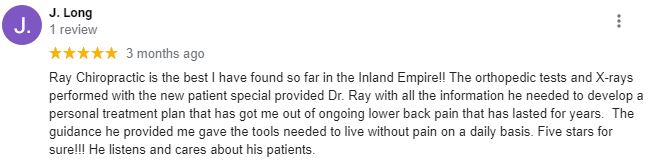 Chiropractic Redlands CA Patient Testimonial